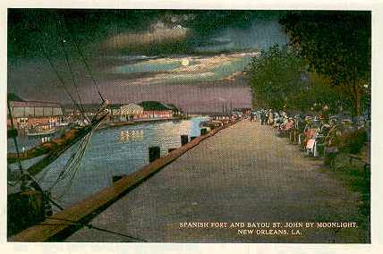 1915 postcard of Spanish Fort & Bayou St. John
