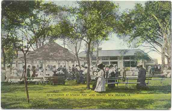 1890s ? Postcard - An afternoon at Spanish Fort Resort