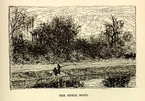1874 Mark Twain writes about the Shell Road
